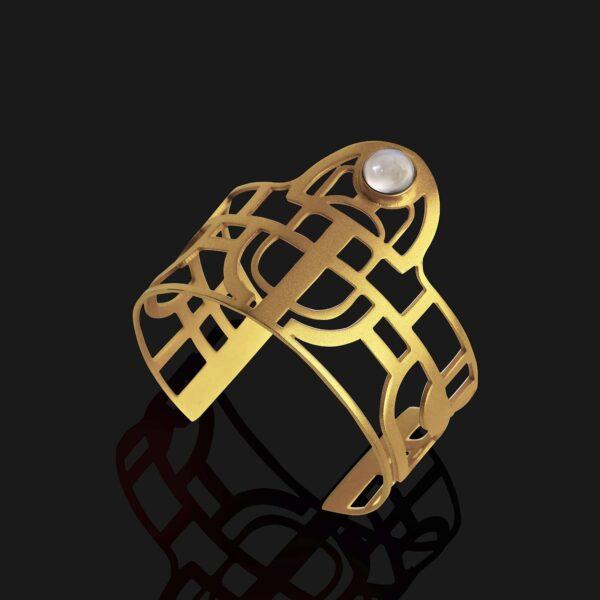 scarab bracelet with stone matt gold plated 18ks