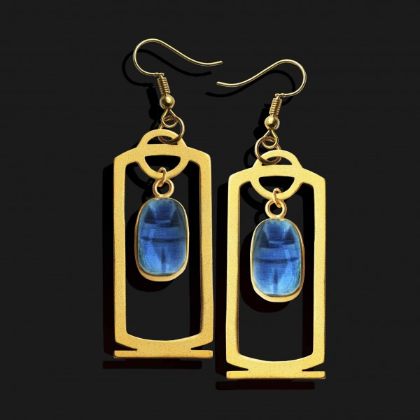scarab cartouche earrings matte gold plated 18k scaled