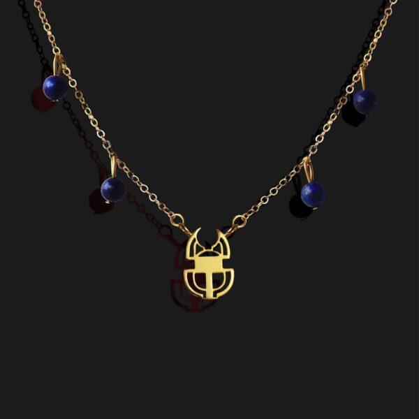 scarab necklace matt gold plated 18k