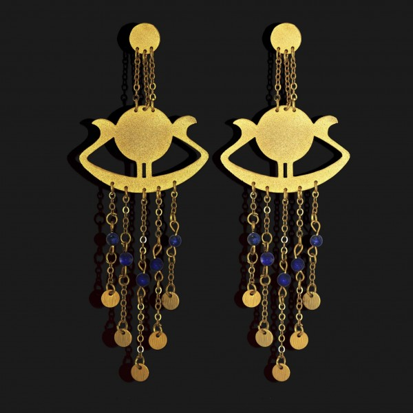 sunboat earrings with lapislazuli stones matt gold plated 18k scaled