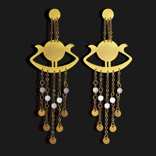 sunboat earrings with stones matt gold plated 18k scaled