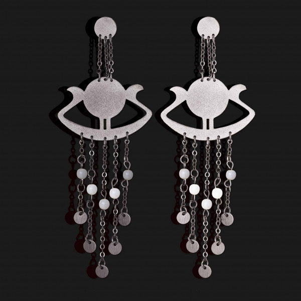 sunboat earrings with stones matt platinum plated scaled