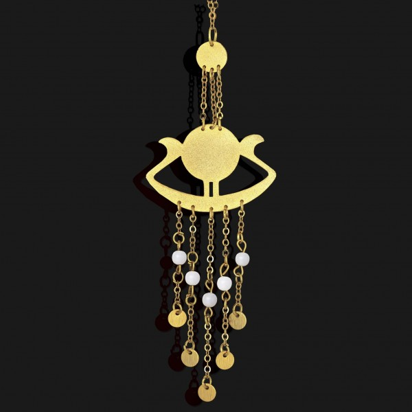 sunboat necklace with seashell stones matt gold plated 18k scaled