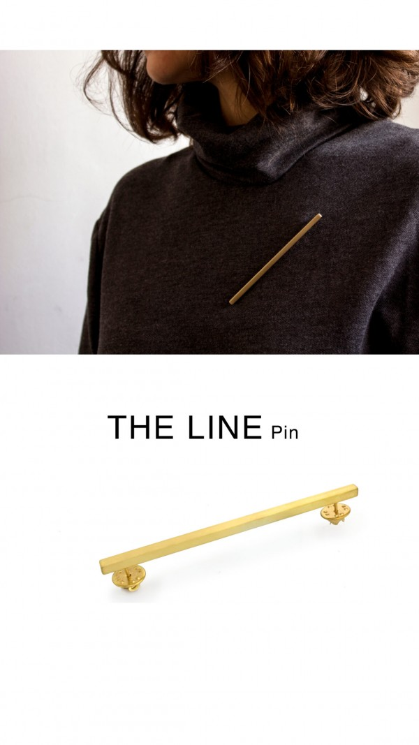 line pin, gold plated brass elegant minimal jewelry