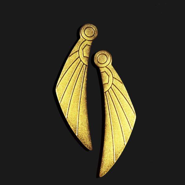 wing of horus earrings matt gold plated 18k scaled