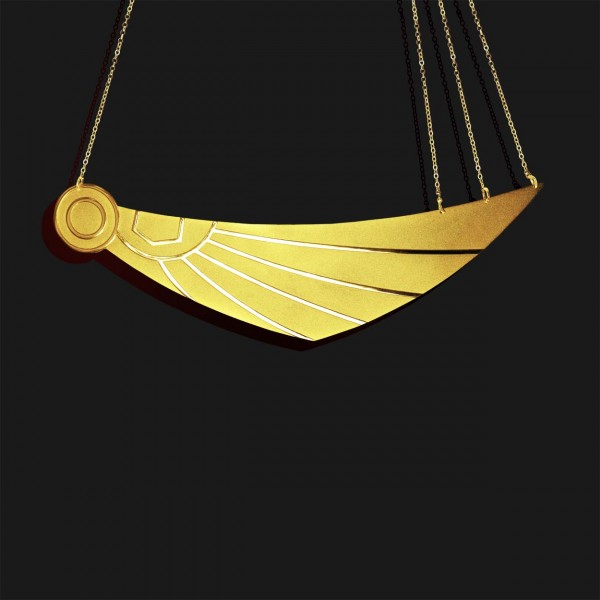 wing of horus necklace mix shiny and matt gold plated 18k
