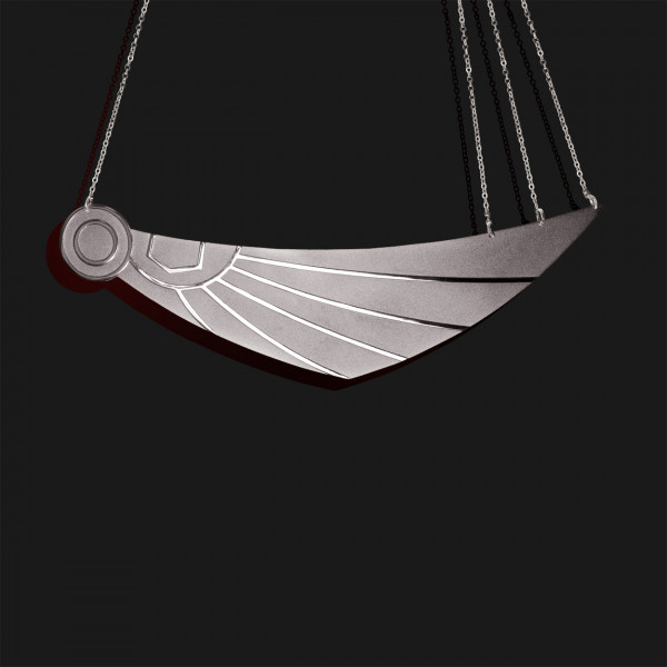wing of horus necklace mix shiny and matt platinum plated