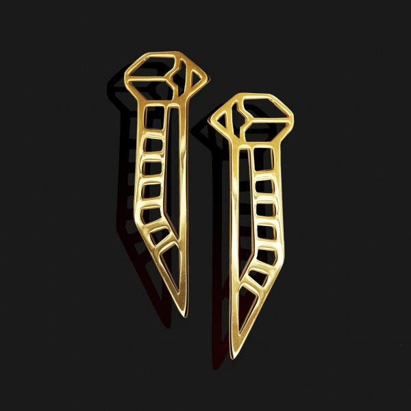 winged scarab earrings shiny gold plated 18k scaled