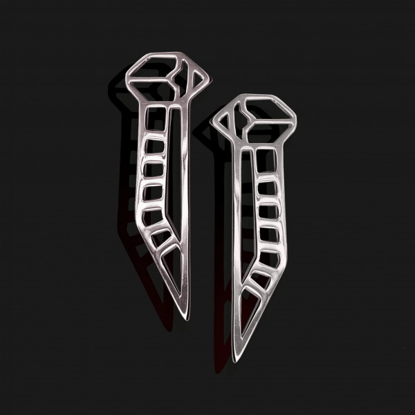 winged scarab earrings shiny platinum plated scaled