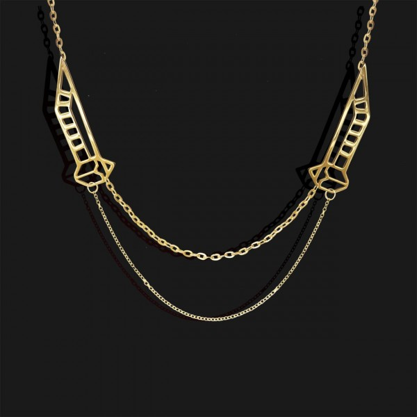 winged scarab small necklace shiny gold plated 18k